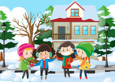 Four kids in winter clothes standing on the road. Illustration Stock Image