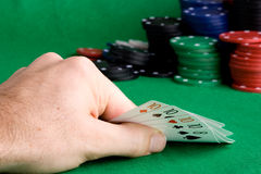 Four of a Kind. A poker hand with four of a kind Royalty Free Stock Images