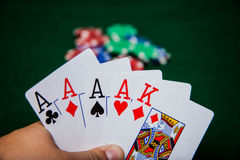 Four of a kind aces king high Royalty Free Stock Image