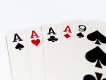 Four of Kind Card in Poker Game with White Background. A playing card is a piece of specially prepared heavy paper, thin cardboard, plastic-coated paper, cotton Stock Photos