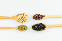 Four kind of natural grains Stock Photos