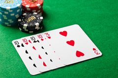 Four of a kind poker game Royalty Free Stock Photo