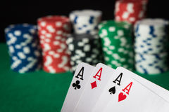 Four of a kind poker hand Aces stock image