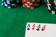 Four of a kind poker hand Aces stock images