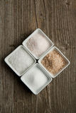 Four kind of salt Royalty Free Stock Photography