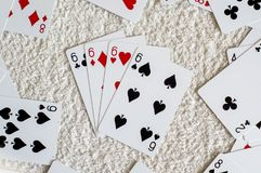 four of a kind six, poker card stock images