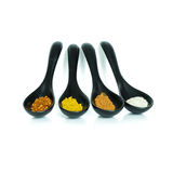 Four kind of spices in the ceramic spoon. Important food ingredient for Asian food Stock Photography