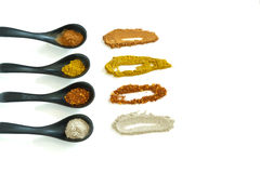 Four kind of spices in the ceramic spoon. Those spices are main ingredient of Asian food Stock Image
