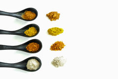 Four kind of spices in the ceramic spoon. Those spices are main ingredient of Asian food Stock Photo