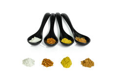 Four kind of spices in the ceramic spoon. Those spices are main ingredient of Asian food Royalty Free Stock Photography