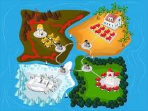 Four Kindom map. Stock Photos