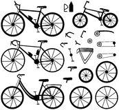 Four kinds of bicycles: mountain (or cross-country) bike, road bike, city bike and bmx bike. Bike accessories. Royalty Free Stock Images
