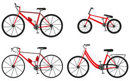 Four kinds of bicycles: mountain (or cross-country) bike, road bike, city bike and bmx bike. Stock Photo