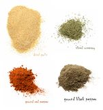 Four kinds of dried spices. Dried garlic, chopped rosemary, ground red pepper, ground black pepper. stock images