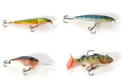 Four kinds of lures. Isolated four kinds of lures Royalty Free Stock Images