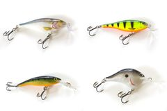 Four kinds of lures. Isolated four kinds of lures Stock Images
