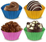 Four kinds of mouthwatering chocolates. Illustration of the four kinds of mouthwatering chocolates on a white background Royalty Free Stock Image