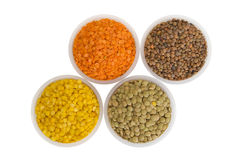 Four Kinds Of Lentil In Bowls Royalty Free Stock Photos