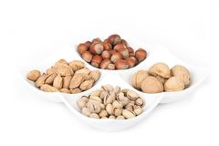 Four kinds of popular nuts Royalty Free Stock Photo