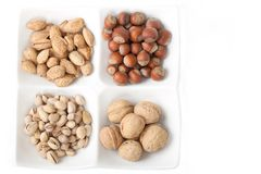 Four kinds of popular nuts Royalty Free Stock Photography