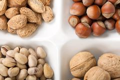 Four kinds of popular nuts Royalty Free Stock Images
