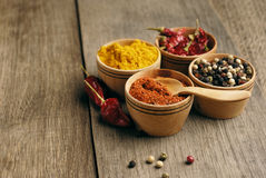 Four kinds of seasonings. Seasonings and some jalapenos on the wooden table Stock Images