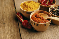 Four kinds of seasonings. Seasonings and some jalapenos on the wooden table royalty free stock photo