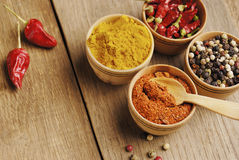Four kinds of seasonings. Seasonings and some jalapenos on the wooden table Royalty Free Stock Photography