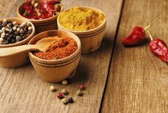 Four kinds of seasonings. And some jalapenos on the wooden table Royalty Free Stock Photos