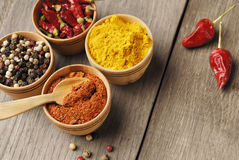 Four kinds of seasonings Royalty Free Stock Photo
