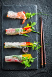 Four kinds of spring rolls with seafood Stock Photo
