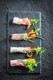 Four kinds of spring rolls with seafood Stock Images