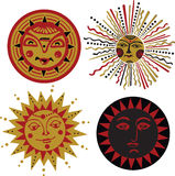 Four kinds of sun in the old Russian style Royalty Free Stock Images