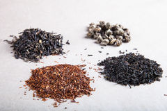 Four kinds of tea on a paper background Stock Image