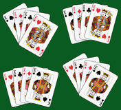 Four Kings. Playing cards: four kings in four different arrangements Royalty Free Stock Image