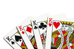 Four kings. Over white background royalty free stock photography