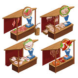 Four kiosk selling meat products, vector Stock Image
