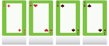 Four knave. Elite playing cards with a blank space in the middle Stock Photo