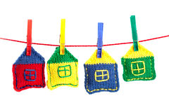 Four knitted colorful houses Stock Photo