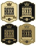 Four labels for beer with crown in retro style. Set of vector labels for beer with crown and ribbon in figured frames on striped background in retro style Royalty Free Stock Images