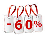 Four labels with the inscription sixty percent Royalty Free Stock Image