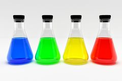 Four laboratory flasks with colorful blue yellow green red liquids. royalty free illustration