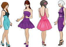 Four ladies in cocktail dresses Stock Image