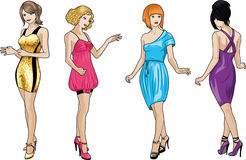 Four ladies in cocktail dresses. Four beautiful Caucasian race ladies with stylish hairdo and beautiful smile in colorful cocktail dresses in realistic cartoon stock illustration