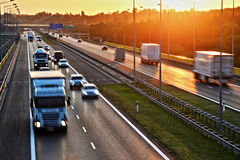 Four lane controlled-access highway in Poland Royalty Free Stock Images