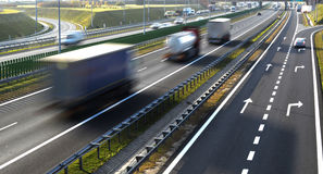 Four lane controlled-access highway in Poland Stock Photos