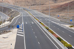 Four lanes highway. On Canary Island Fuerteventura Spain stock photos