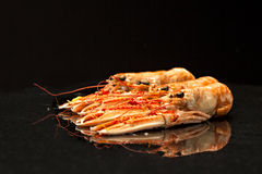 Four langoustines. On a black shiny surface Stock Photography