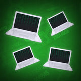 Four laptop on an abstract background. The concept of computers royalty free illustration