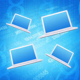 Four laptop on an abstract background. The concept of computers vector illustration